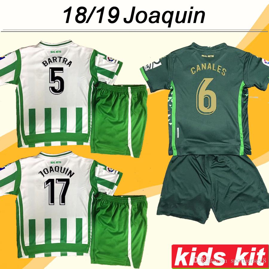 3e57053eb 2019 2018 19 REAL BETIS Kid Kit Soccer Jerseys JOAQUIN BARTRA TELLO Home  Away Child Football Shirt CANALES SANABRIA BOUDEBOUZ Camisetas De Futbol  From ...