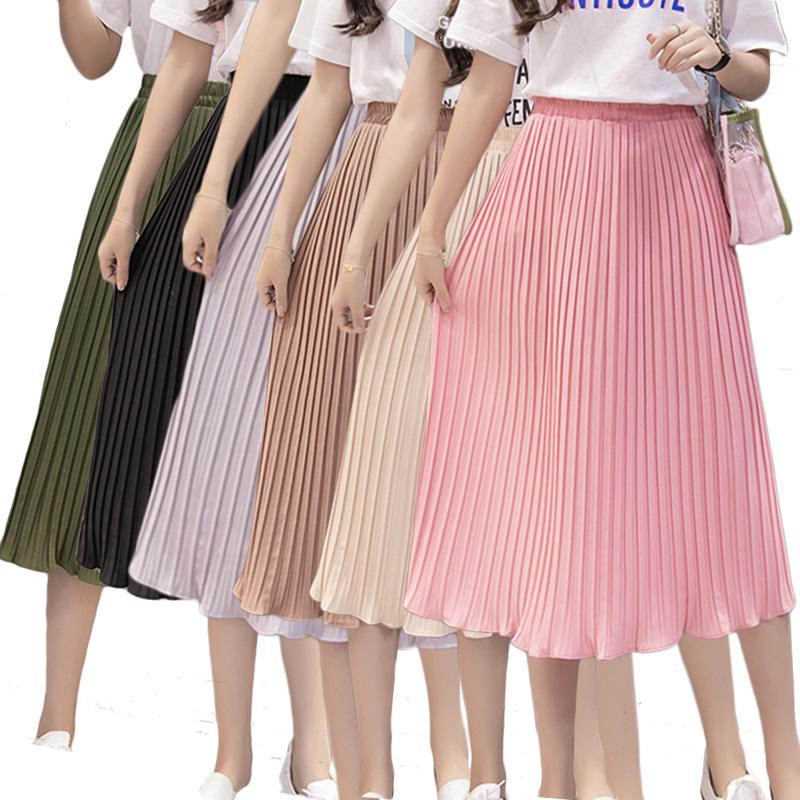 eb83134ade4 2019 Women Pleated Midi Skirt Chiffon Elastic High Waist Tutu Long Skirts  Female Summer Maxi Female Elegant Sexy Solid Korean Skirt S916 From  Ruiqi02, ...