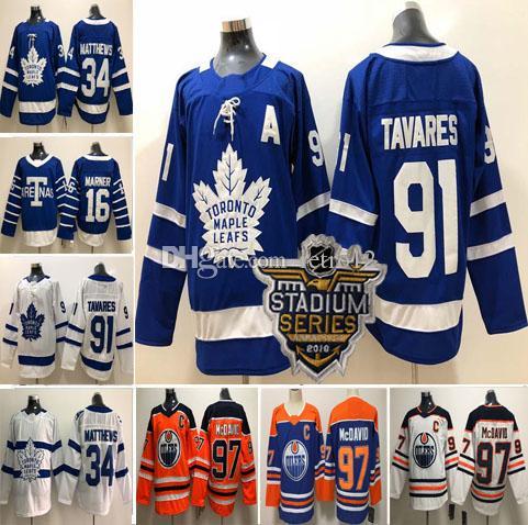 6bb3273342f 2019 2018 19 Toronto Maple Leafs  91 John Tavares  34 Auston Matthews 16  Mitchell Marner 97 Connor McDavid Mens Women Kids Hockey Jerseys S 3XL From  Retro12 ...