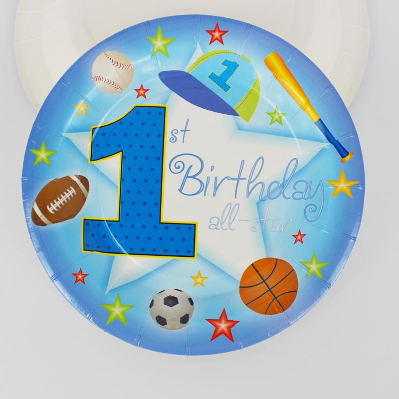 2018 One Year Old Boy Theme 7 Plate Birthday Party Decoration Kids Supplies Favors Event From Huayama 2921