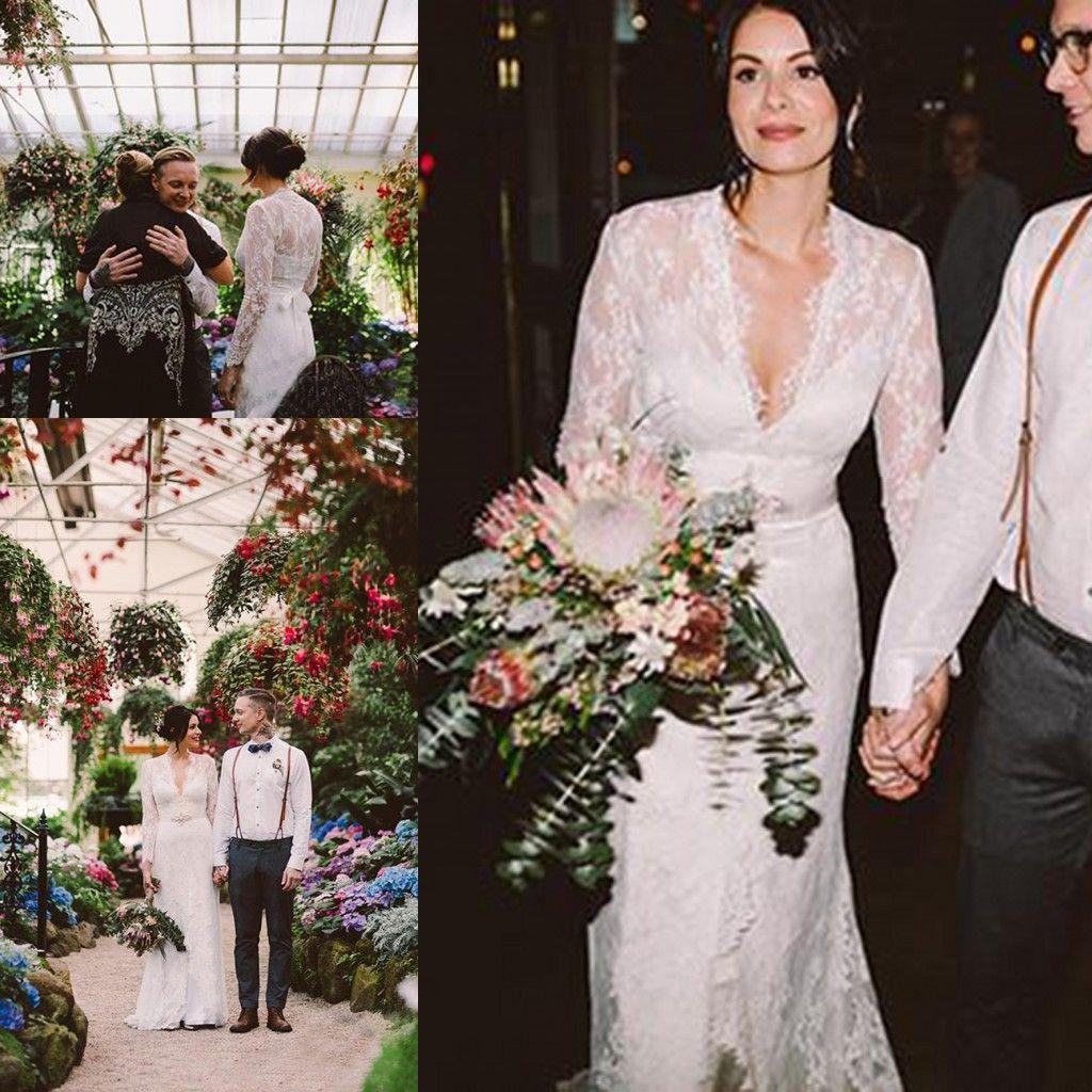 Kate Middleton en Jenny Packham Vestidos de novia de manga larga de encaje Boho con cinturón Vestidos de novia elegantes con cuello en V Gardern country