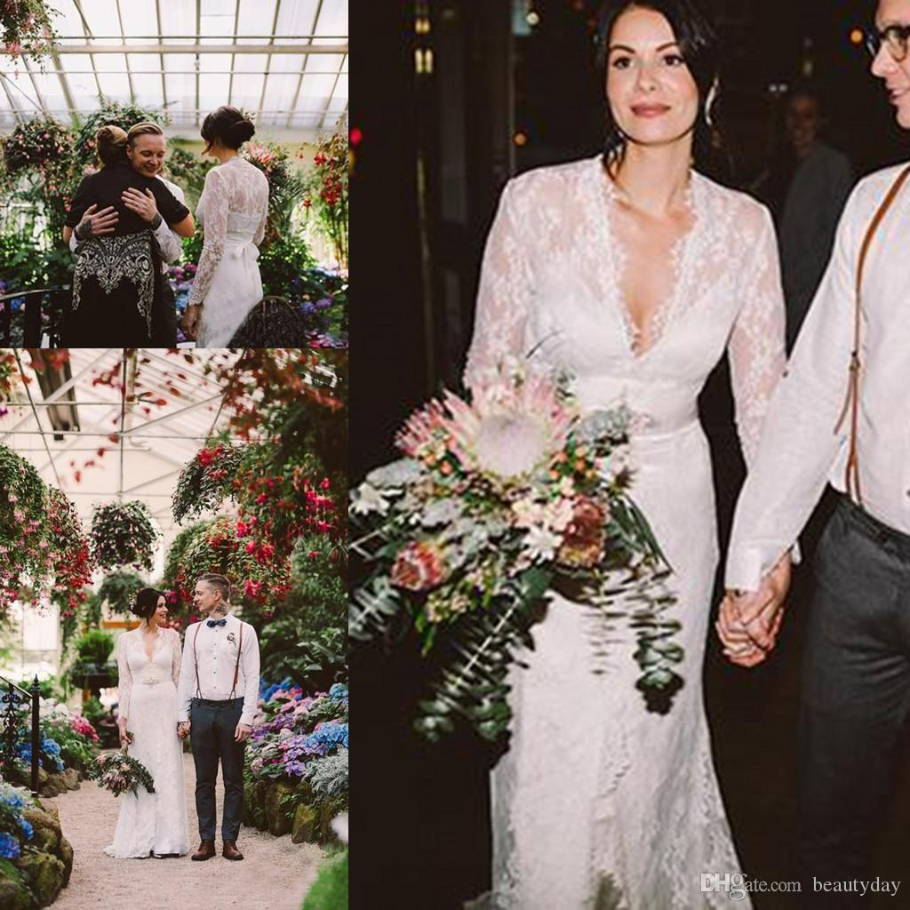 b1911a4afd1 Kate Middleton In Jenny Packham Lace Boho Long Sleeve Wedding Dresses With  Belt Elegant V Neck Gardern Country Bridal Wedding Gowns The Perfect  Wedding ...