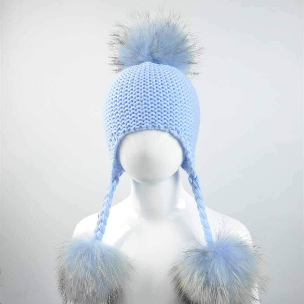 Acquista Cappello Bambino Lavorato A Maglia Con Tre Pompon In Vera  Pelliccia Beanie Boy Girl Natural Raccoon Fur Ball Cap Bambini Carino Real Pom  Pom Hat A ... 924b97ab0903