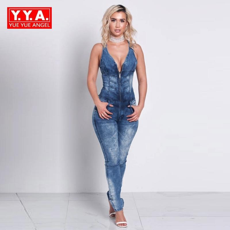 f7dcd41c4c6c 2019 New Fashion Women Jumpsuit Sexy Front Zipper Sexy Jeans Pants Back Hollow  Out Long Romper Female Denim Overalls Skinny Plus Size From Vikey06