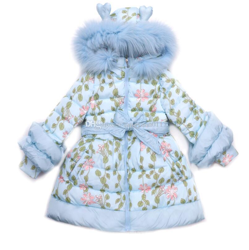 680eadae7314 Fashion Winter Girls Long Cute Hooded Warm Cotton Coats Children ...