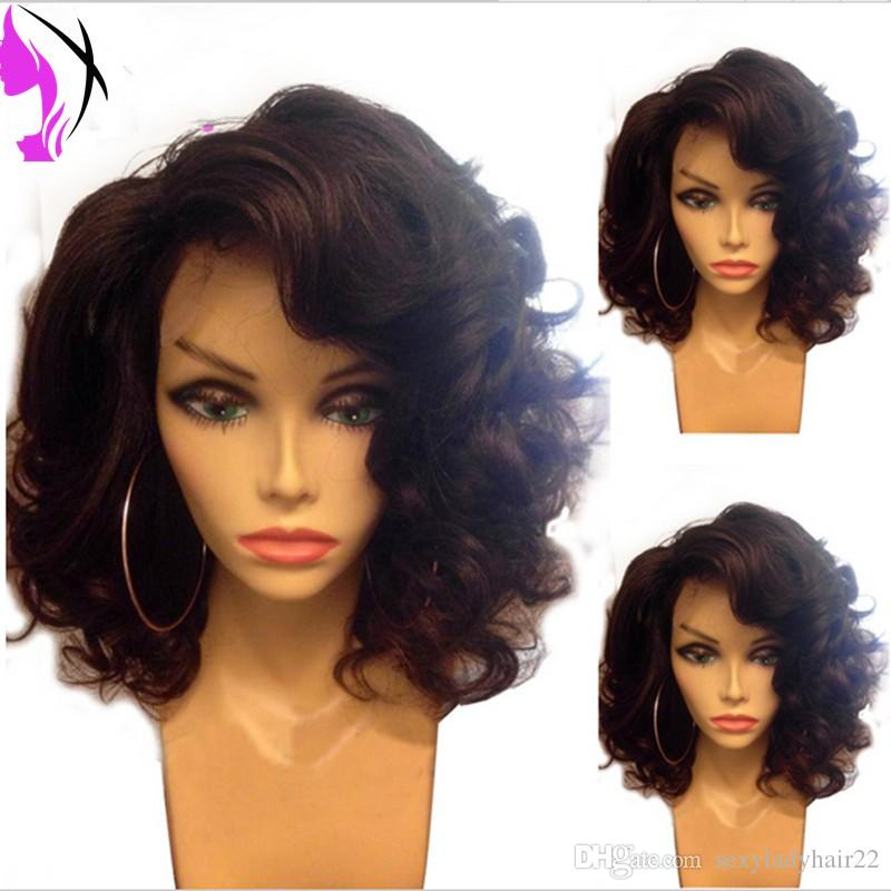 Stock Natural Short wavy Bob Wig Synthetic Hair For Women Heat Resistant lace front wig with Bangs for black women
