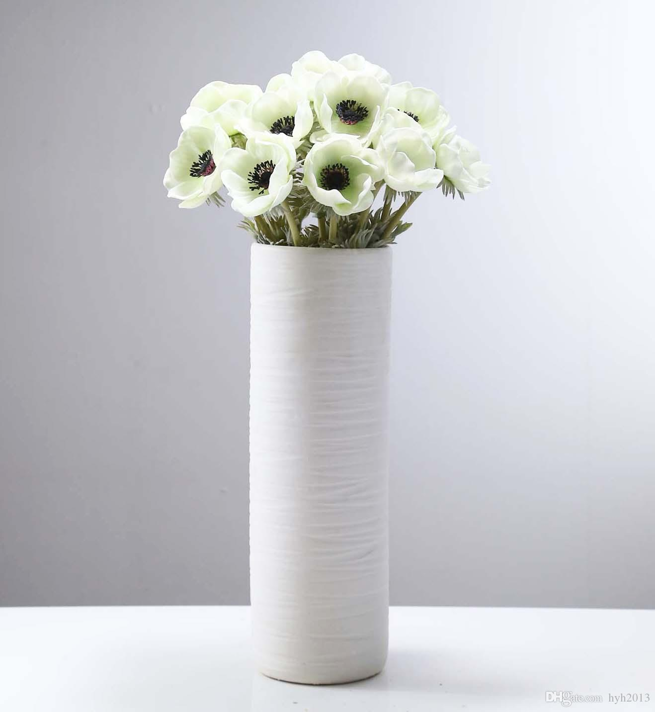 2018 5 heads mini artificial anemone wedding bridal bouquet home 2018 5 heads mini artificial anemone wedding bridal bouquet home long stem flower grassgreen in white from hyh2013 805 dhgate izmirmasajfo