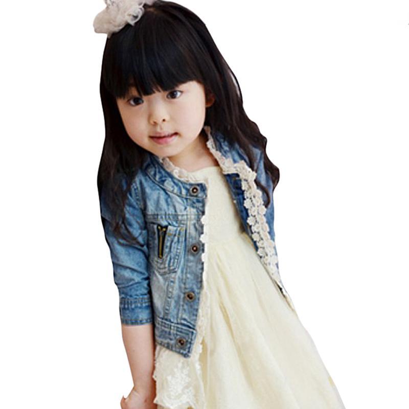Girls Kids Jean Coat Jacket Outwear 데님 탑 버튼 레이스 버튼 의상 여성용 자켓 Hot Baby Girl Clothes