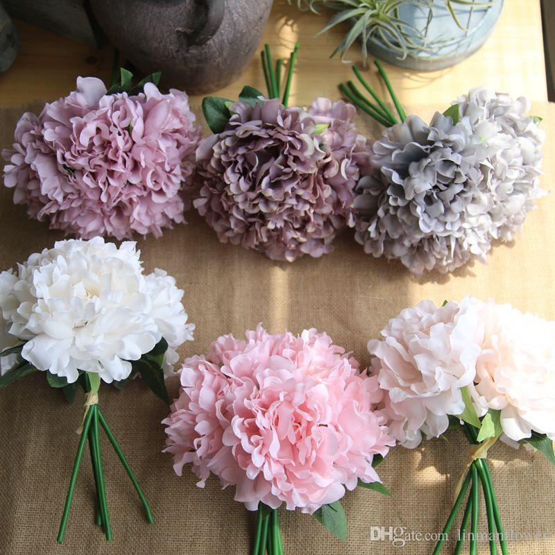 2019 Wholesales Peony Flowers 5 Heads Fake Bridal Bouquets