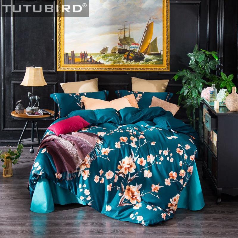 Großhandel Luxus Bettwäsche Sets Blau Satin Indische ägyptische