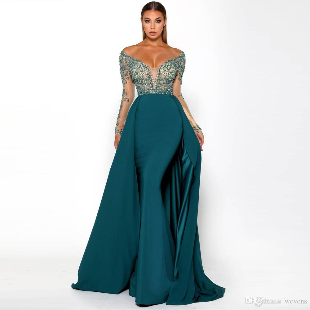Luxury Teal Green Mermaid Evening Dresses Off Shoulder Beading And ...