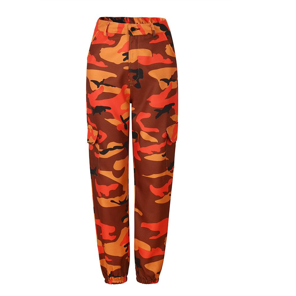 Bayanlar Casual Moda Kamuflaj Camo Uzun Pantolon Bayan Pantolon