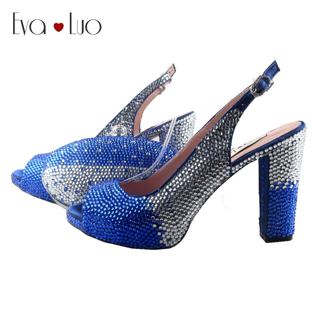 6a5cd6a129d BS904 DHL Custom Made Block Heel Royal Blue Silver Crystal Women Shoes With  Matching Bag Slingbacks Bridal Wedding Shoes Silver Heels Dress Shoes From  ...