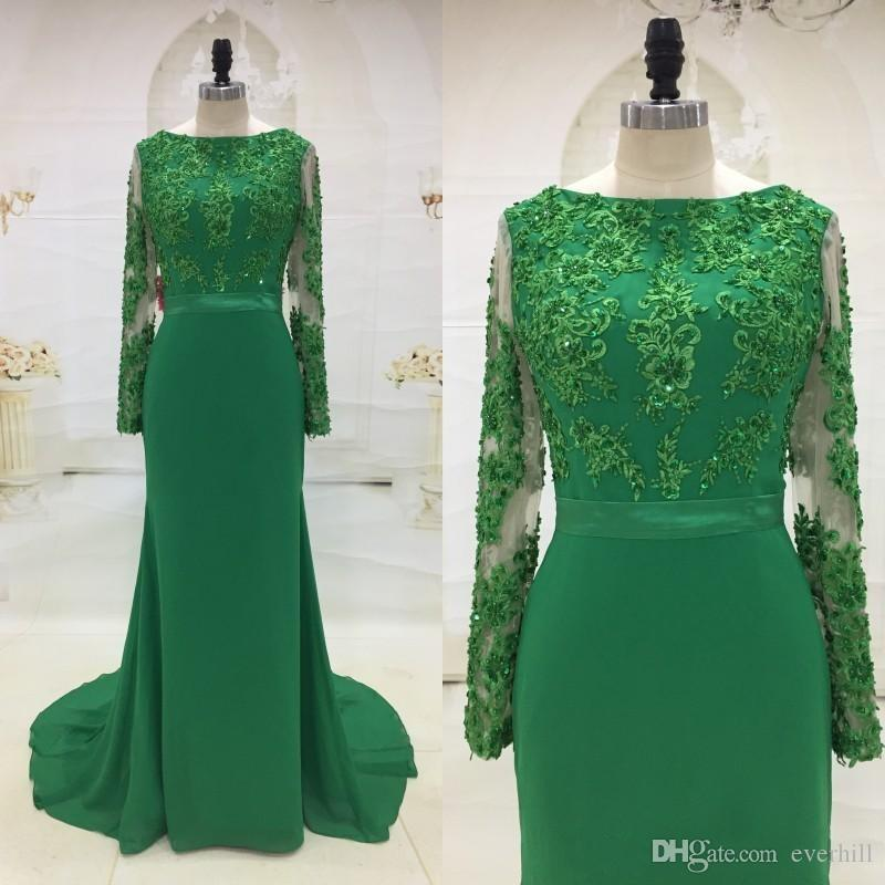 Jane Vini 2018 Arabic Green Long Sleeve Evening Dresses Wear Elegant Mermaid  Long Beaded Sequined Lace Evening Gowns Formal Party Prom Dress Elegant  Evening ... 79b266815933
