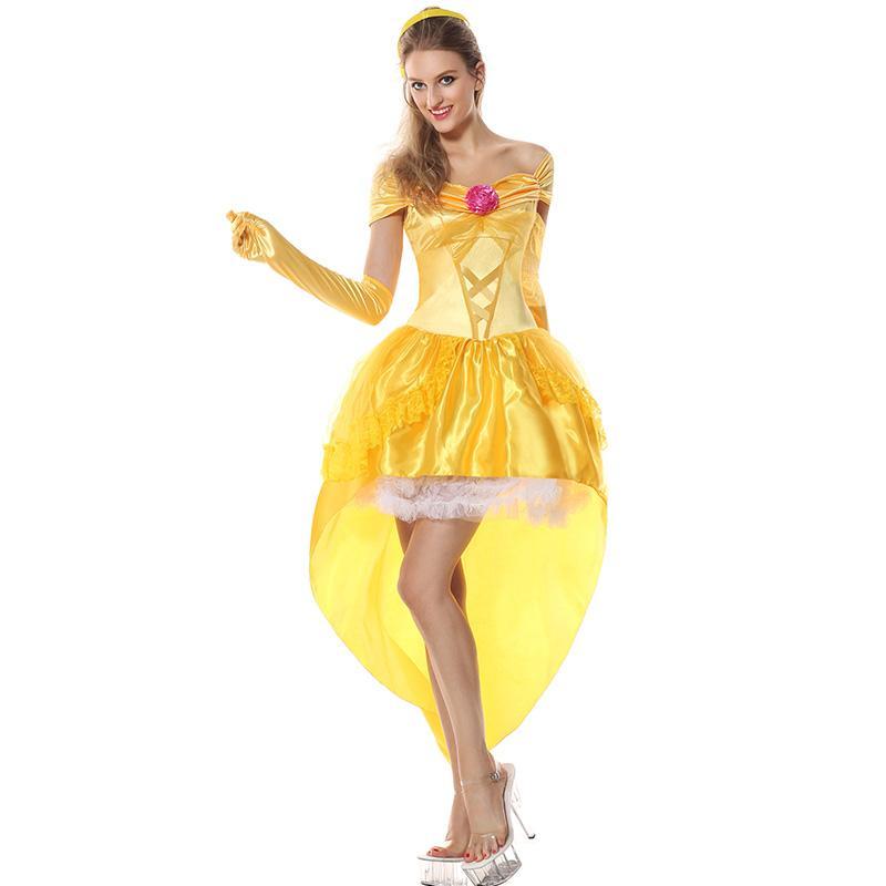 Fairytale Queen Belle Cosplay Costume Yellow Dress Gloves Headwear