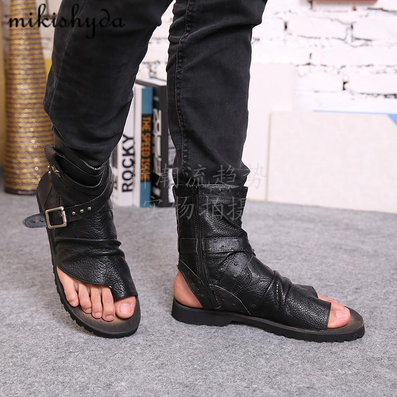 new arrival aa544 f5554 HOT Man Sandals Leather Summer Cool Beach Shoes Man Flip-Flops Roman Male  Sandals High Top Man Summer Boots Open Toe Man Shoes