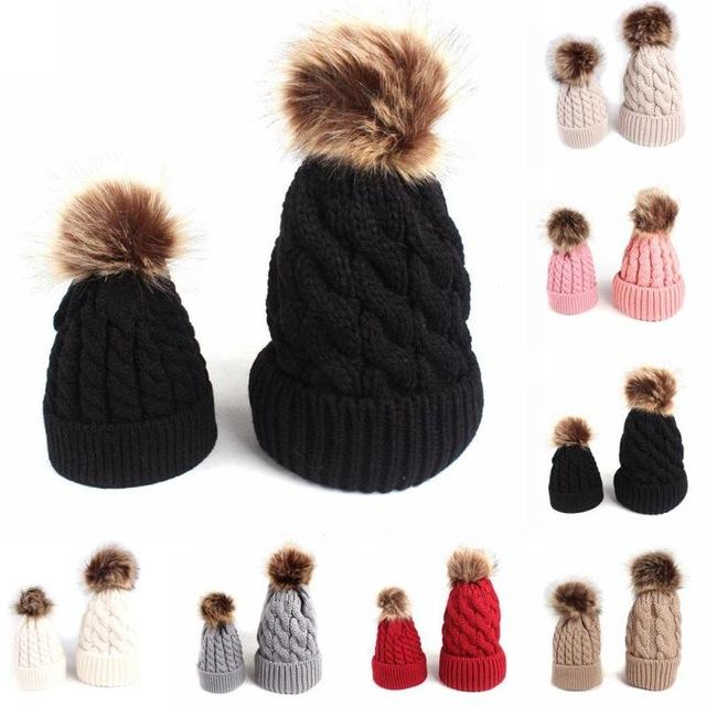 df2b8b8752c Mother Daughter Hat 2Pcs Set Winter Baby Warm Hat Knitted Father Sons Hat  Fur Pompom Beanies