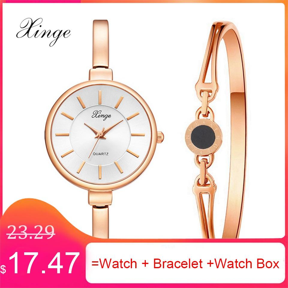 4239a60f4b5 Xinge Brand Ladies Bracelet Watch Set Fashion Women Party Dress ...