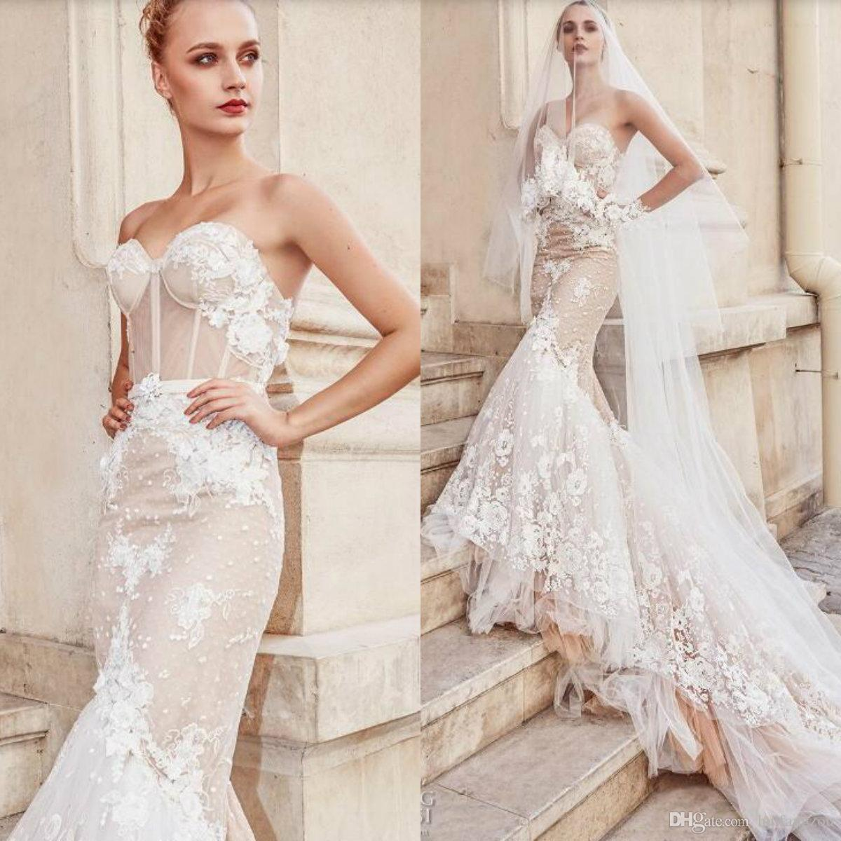 218768504 Discount 2019 Mermaid Wedding Dress Sexy Illusion Bodice Sweetheart Exposed  Boning Bridal Gowns 3D Floral Appliques Backless Wedding Dresses A Line  Wedding ...