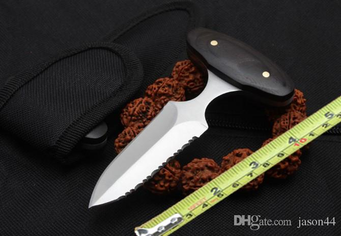 Classic wooden handle push knife edge self-defence tactical knife outdoor hunting knife