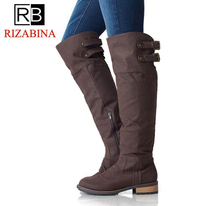 77144e5b18932 Acheter RizaBina Femme Flats Bottes Bout Rond Zipper Boucle En Métal Femmes  Bottes Au Genou Simple Rétro Chaussures Femme Chaussures Taille 35 42 De   50.6 ...