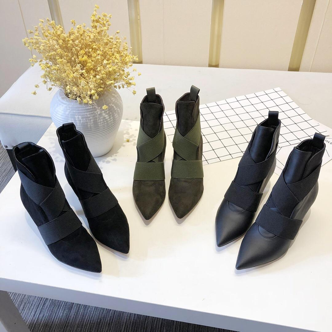 f62ab2bc5d9 Gianvito Rossi Ankle Boot Pointy Toe Bootie Elastic Band Suede Cross  Leather Boots For Women Slip On Pointed Toes Kitten Heel Booties 0Gr022