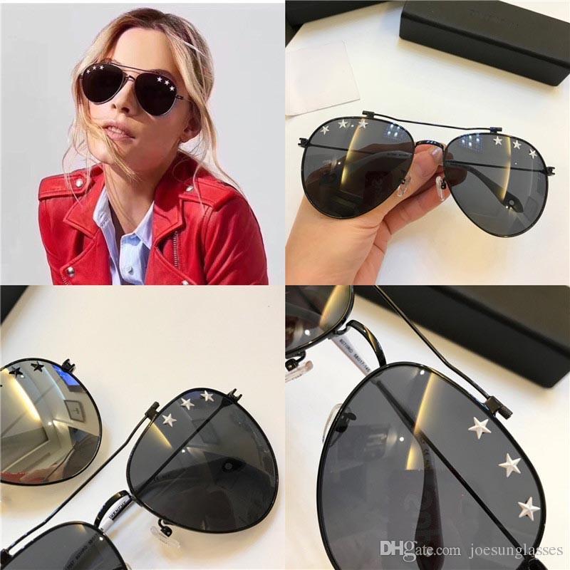 dcf22833f229 2018 New Fashion Designer Sunglasses 7057 Little Stars Pilot Metal ...