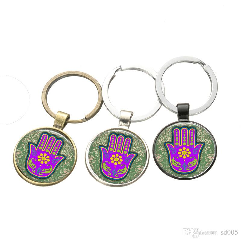 Fatima Hand Key Ring Time Gemstone Key Buckle Car Bag Keychain Birthday Gifts Party Favors Key Chain 1 5sx gg