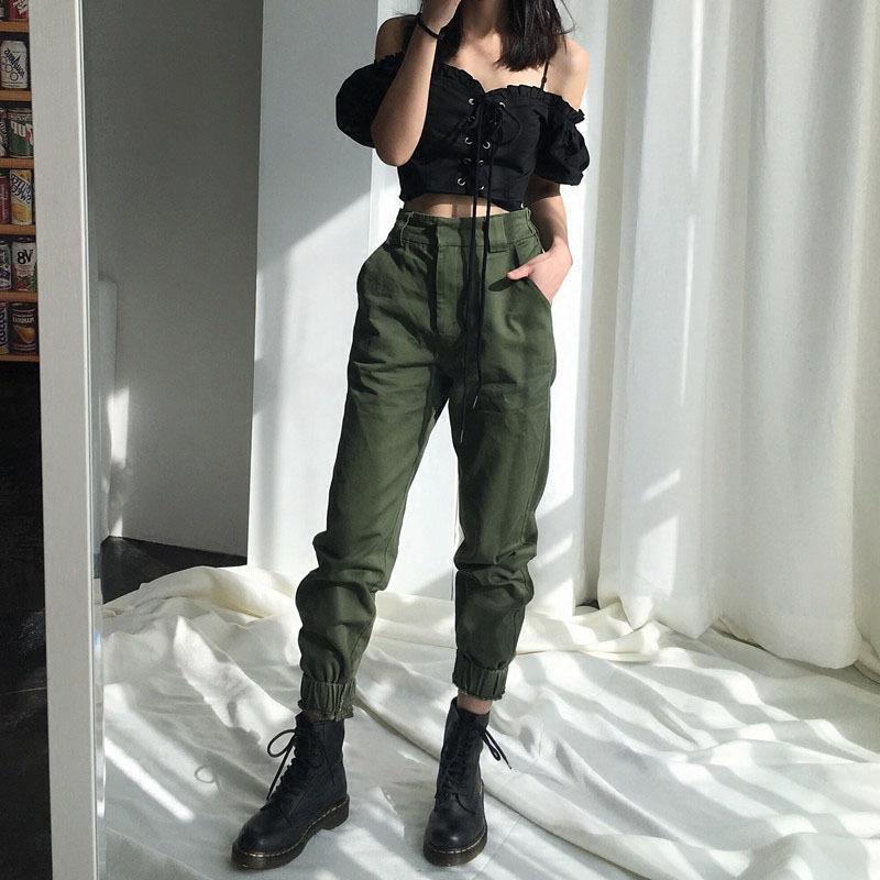 5d989cba442b 2019 High Waist Pants Camouflage Loose Joggers Women Army Harem Camo Pants  Streetwear Punk Black Cargo Pants Women Capris Trousers From Rui03, ...