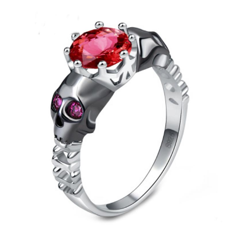New LNRRABC Fashion Skull Punk Women Rings Red Crytal Rhinestones Stainless Steel Wedding Band Engagement Cocktail Ladies Rings
