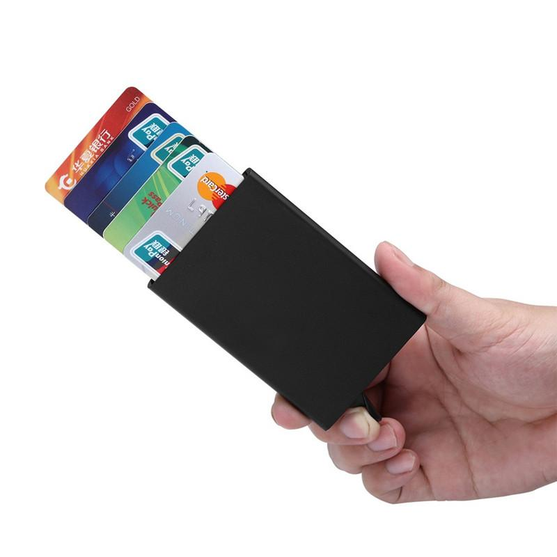 Slim Thin Business Card Case PU & Alloy Bank Credit Card Holder Box ...