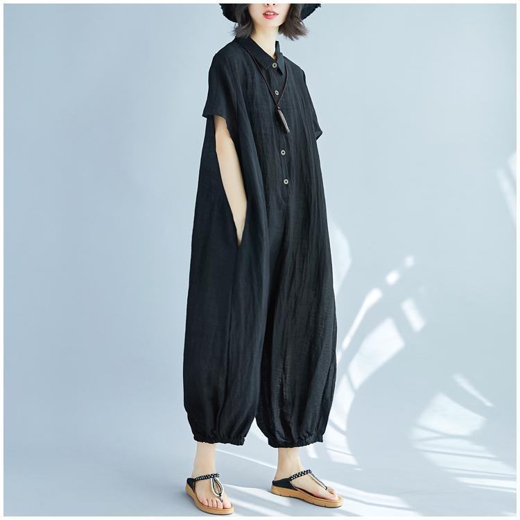 2018 New Summer Rompers Women Jumpsuits Plus Size Short Sleeve Wide Leg Vintage Loose Cotton Linen Overalls Baggy Pants