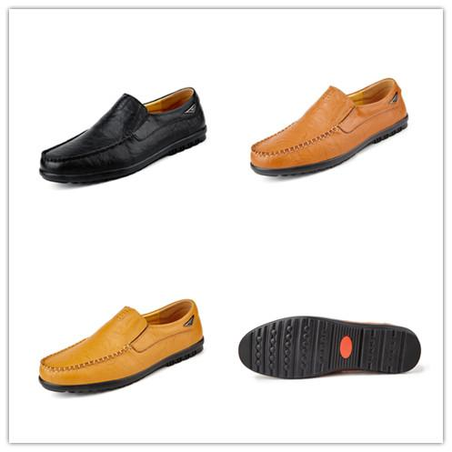 Men 's Casual Leather Stiching Fashion Walking Driving Shoes Slip-On Loafers Driving Shoes.