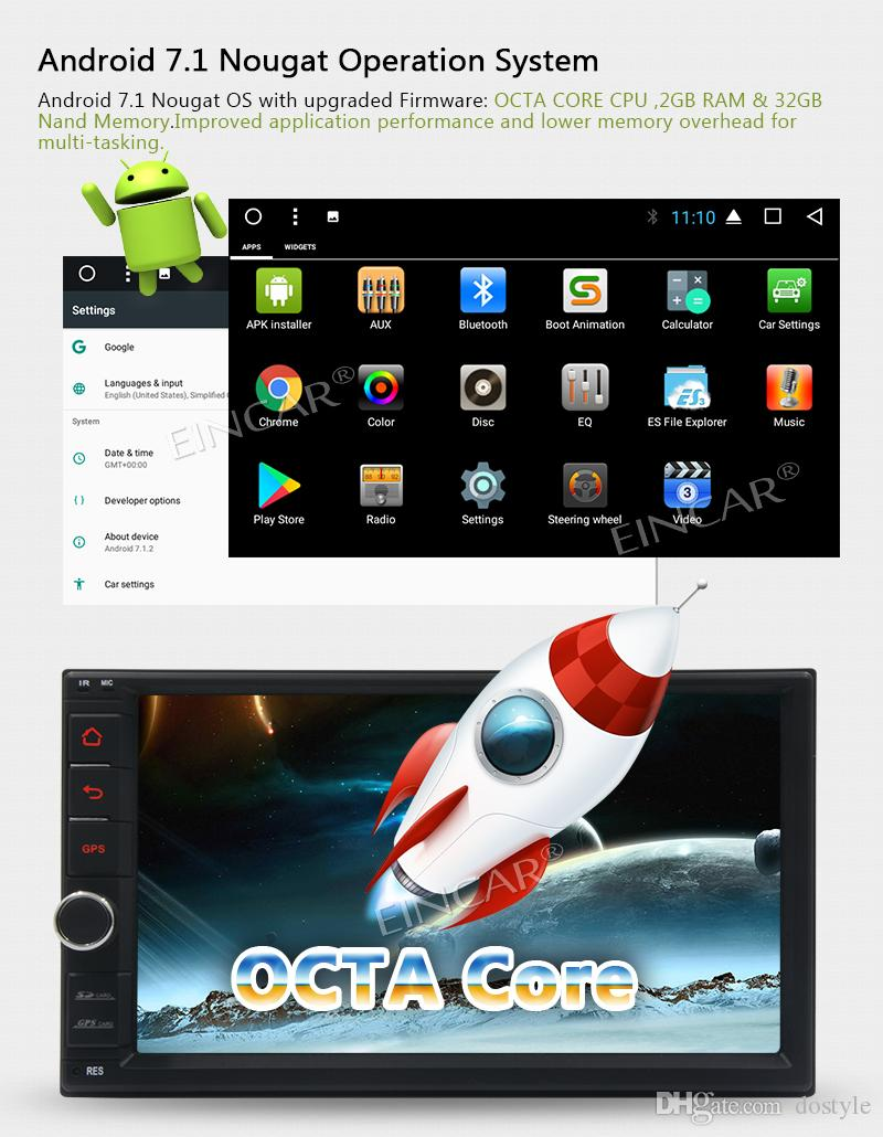 Android 7.1 car auto audio head unit 8-core dual DIN touch screen GPS navigation WiFi support OBD2 3G/4G dual camera input