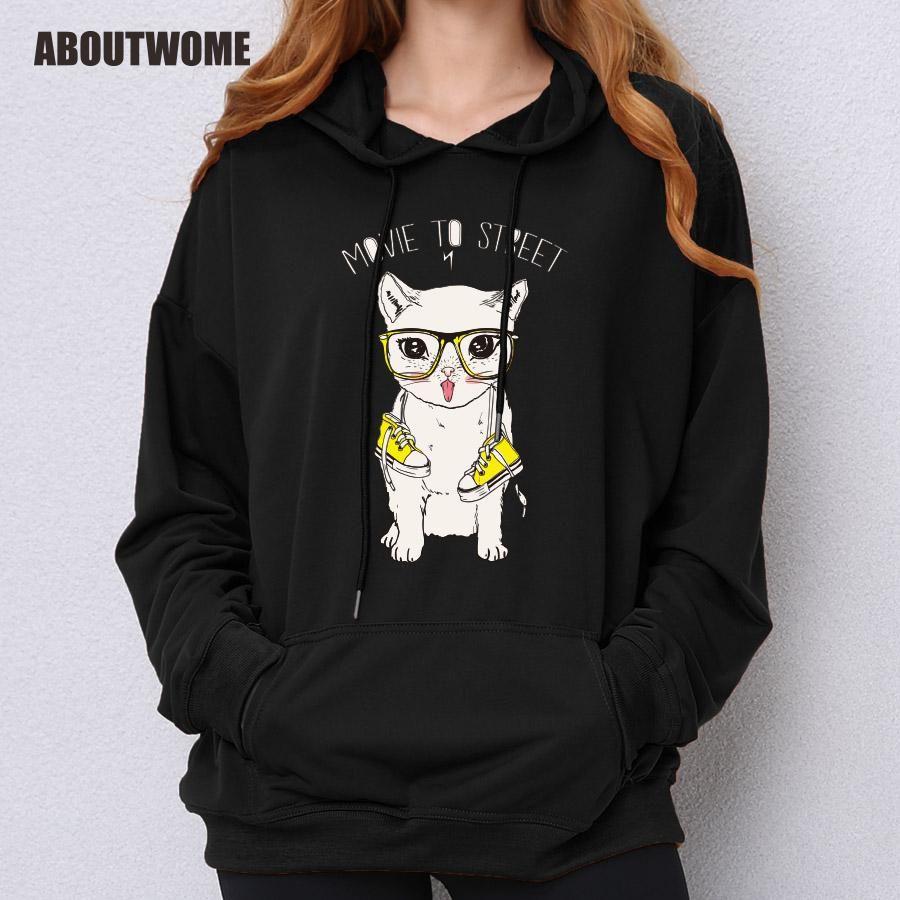 Aboutwome Cat Hoodie Girls Cute Kawaii Cartoon Printed Pullovers Black Army  Green Pink Autumn Long Sleeve Hooded Sweatshirt UK 2019 From Bida Josh 50edee83ceb4