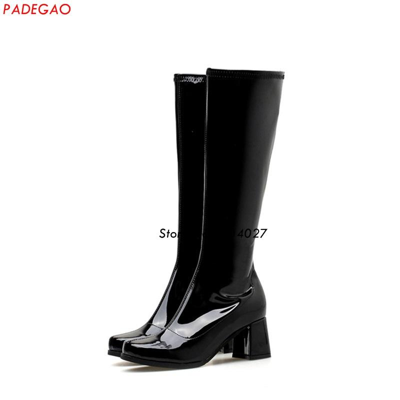 210a1d8ca13 Candy Color Woman Long Boots Hot Fashion Thick Heel Knee High Boots Female  High Heel Motorcycle Boot Moon Boots Red Shoes From Galaxyy