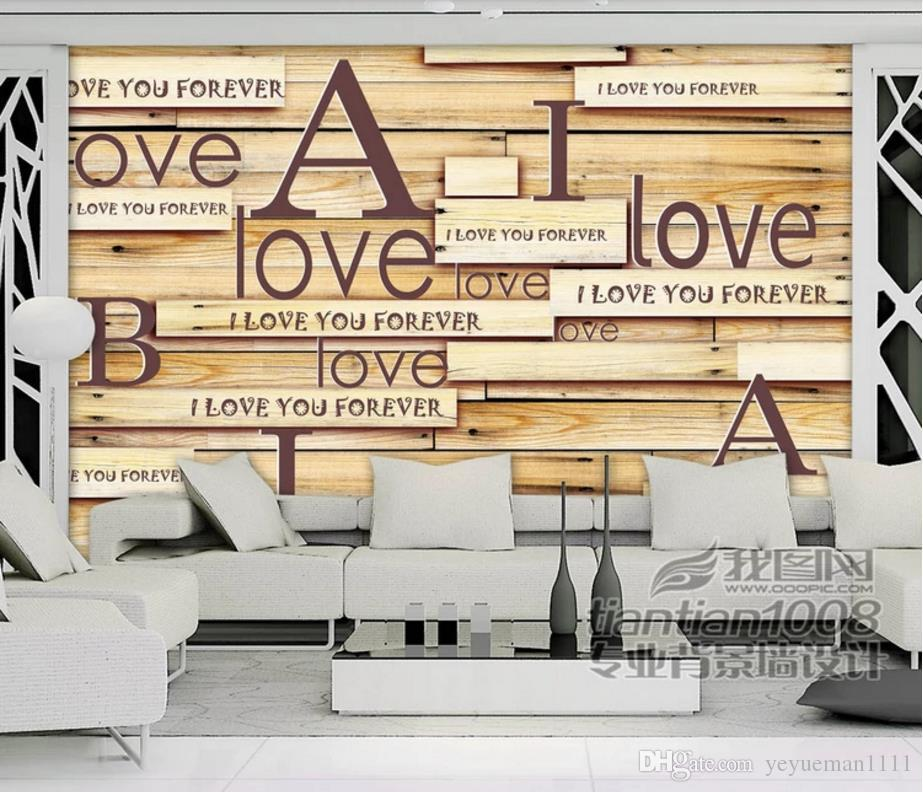 3d Murals Wallpaper Letter Board Wallpaper For Wedding Room Silk