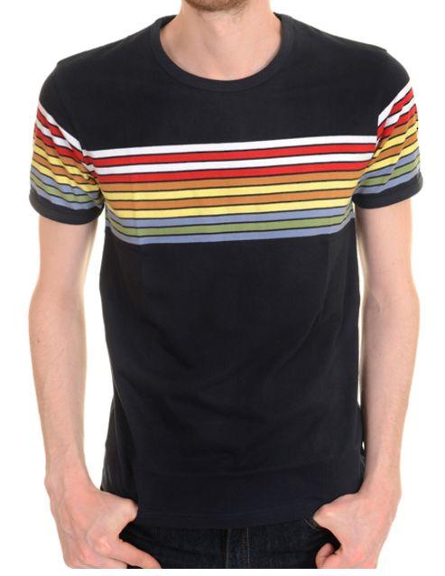 936b38b2b6be mens new 60's/70's vintage retro mod style navy t shirt with rainbow stripes