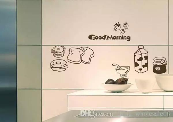 Good Morning Breakfast Combination Wall Decals Warm Family Dining Room  Kitchen Fridge Decorative Wall Stickers Aqi 527 Buy Wall Sticker Buy Wall  Stickers ...