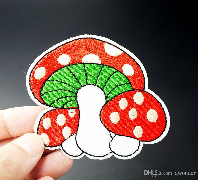Mushroom Embroidery Patches Sew Iron On Applique Cartoon Patch DIY Badges Label Clothes Stickers Jeans Garment Apparel Accessories