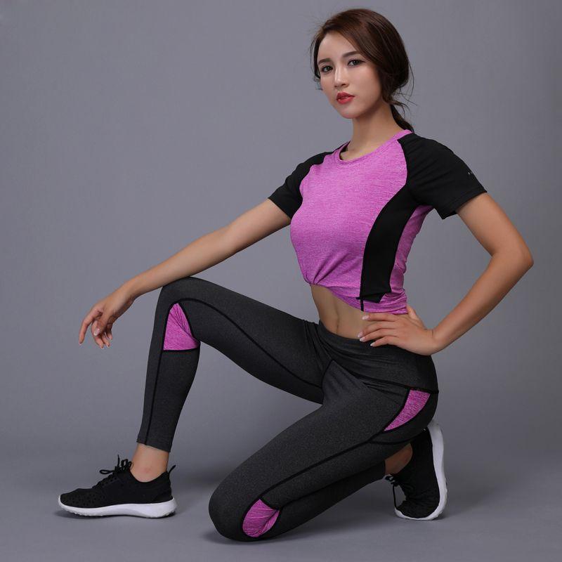 f575ed75e4de3 Acheter 2 Pièces Femmes Yoga Set Fitness Gym Vêtements Courir Tennis  Chemise + Pantalon Yoga Leggings Jogging Workout Sport Costume Sportswear Pas  Cher Mode ...