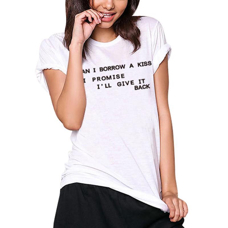 De Pedir Camisetas Manga Corta Camiseta Un Divertida Mujer Camisa ¿puedo Algodón BesoCartas Tops Blanco Para O Cuello Casual 3AS4q5RjcL