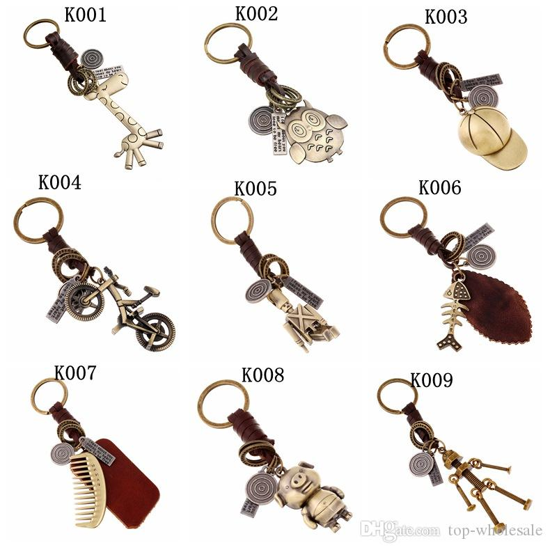 Brand New Stylish Real Leather Keychains Cute Animal Vintage Bronze  Pendants Key Ring Men S Women S Car Bags Jewelry Accessories Xmas Gifts UK  2019 From Top ... 8ae7380c5a