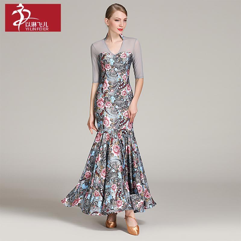 9746a389f 2019 Lady Ballroom Dancing Dress Half Sleeve V Neck Long Dress Female Modern  Dance Suit National Standard Dance Costumes D 0693 From Weilad, ...