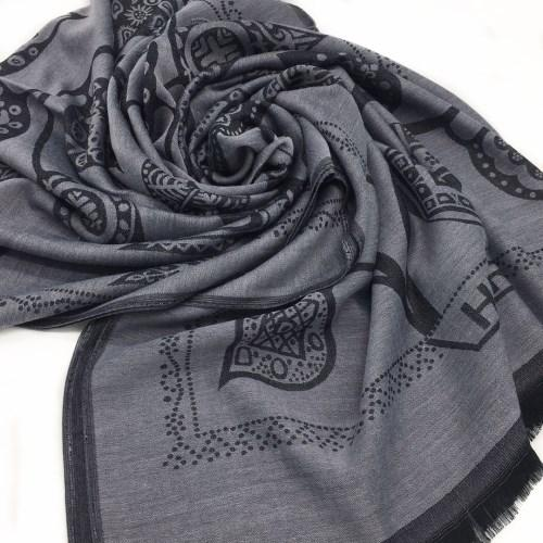 New product autumn and winter knitted jacquard leaf pattern cotton grey lady scarf shawl size 200cm - 71cm