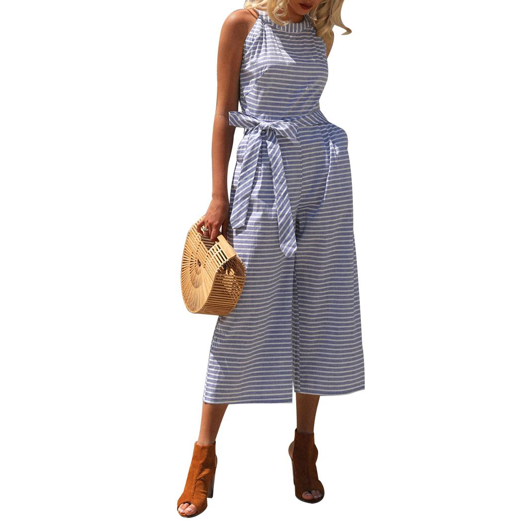 05b04b567eb775 2019 2018 Summer Women Striped Bowknot Jumpsuit Elegant Halter Wide Leg  Pants Overalls Sleeveless Jumpsuits Rompers Body Femme From Bclothes002, ...