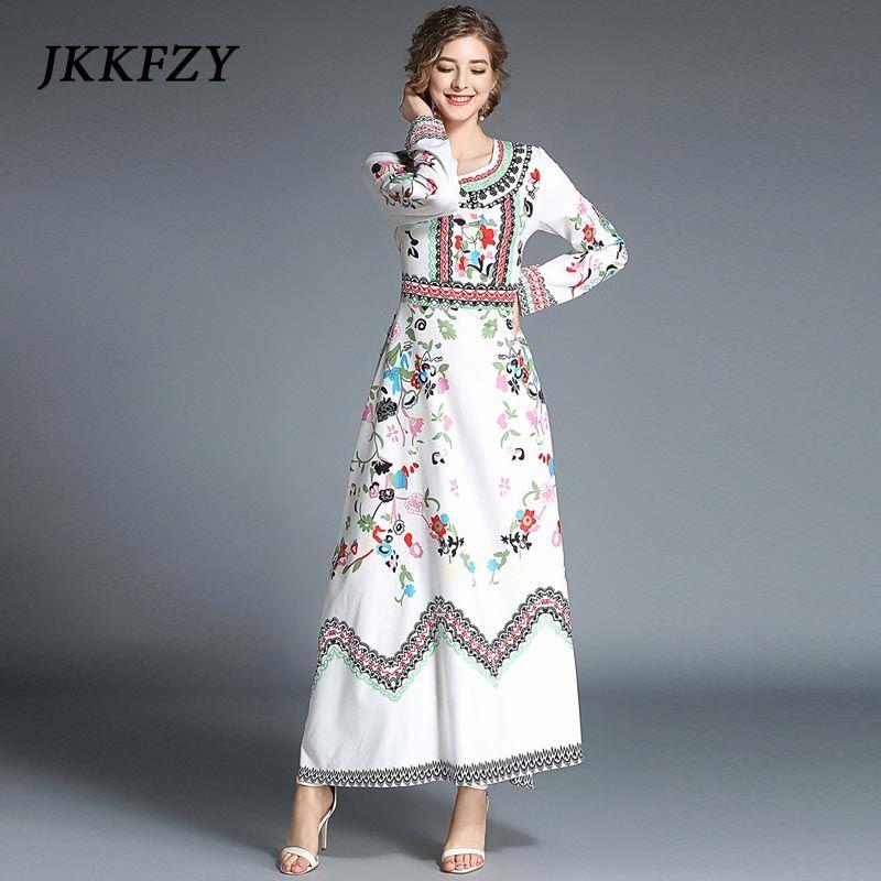 1cc5e8af6de JKKFZY New 2018 Fashion Designer Runway Maxi Dress Women s Long Sleeve  Floral Print Casual Long Dress Boho Beach Vintage