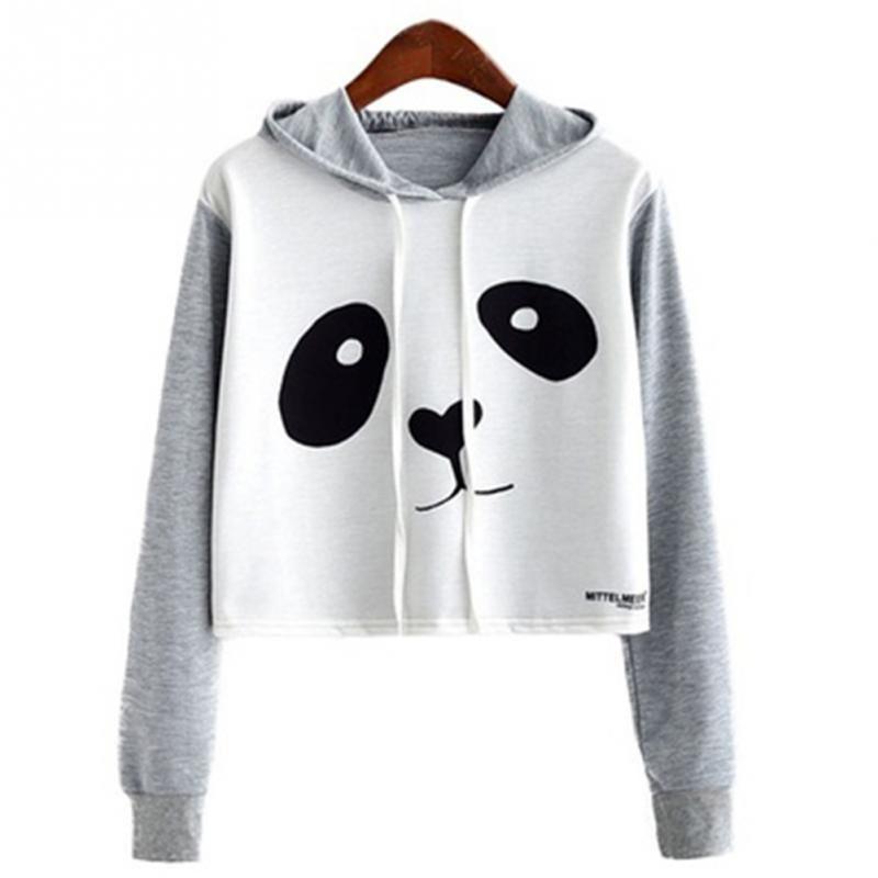 7f110f01a94 2019 Women Girls Cute Panda Printed Crop Top Hoooed Sweatshirt Panda Hoodies  Long Sleeve Pullover Casual Tops From Odeletta