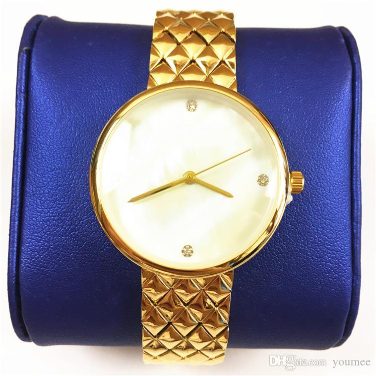 696de2df601 Compre 2018 Aaa Luxo Mulheres Relógios De Ouro Amarelo De Aço Inoxidável Senhora  Quartzo Relojes De Marca Mujer Mãos Luminosas Presente Para Meninas Japão  ...