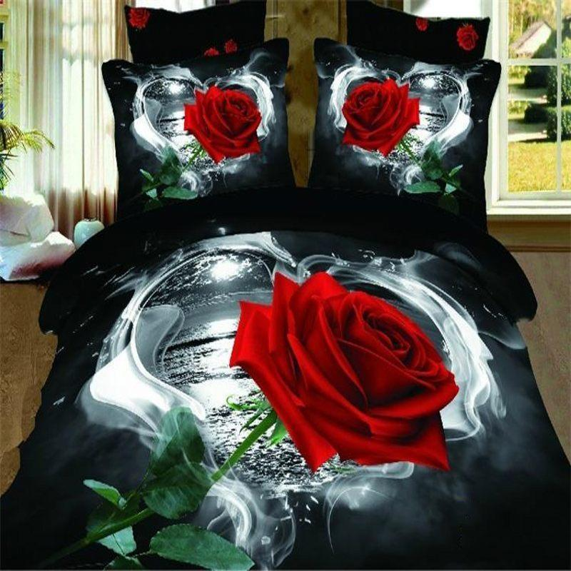 3d Red Rose Bedding Sets Queen Size Floral Doona Black Quilt Duvet